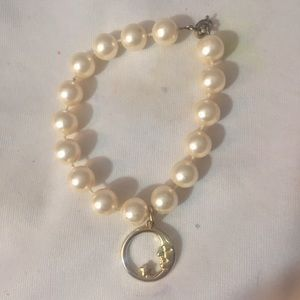 Vintage Pearl Bracelet with gold moon charm